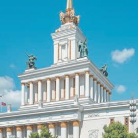 """Главный """"Центральный"""" павильон на ВДНХ: карнизы, колонны и гербы"""